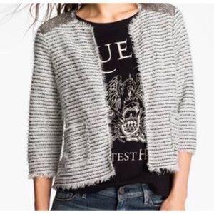 Willow & Clay Silver Textured Sequins Soft Blazer